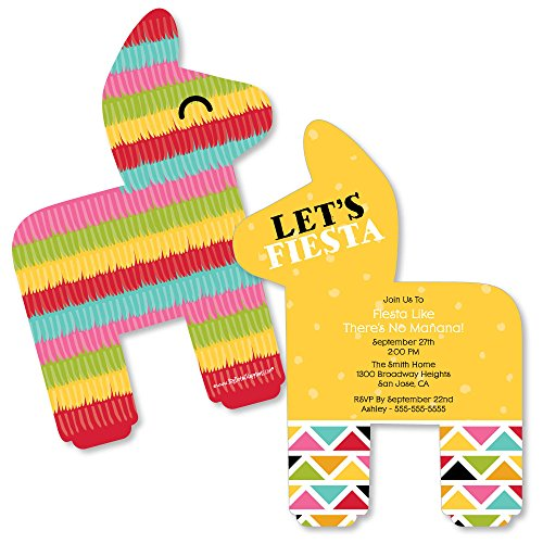 Custom Let's Fiesta - Personalized Mexican Fiesta Invitations - Fill In Invitation Cards with Envelopes - Set of 12