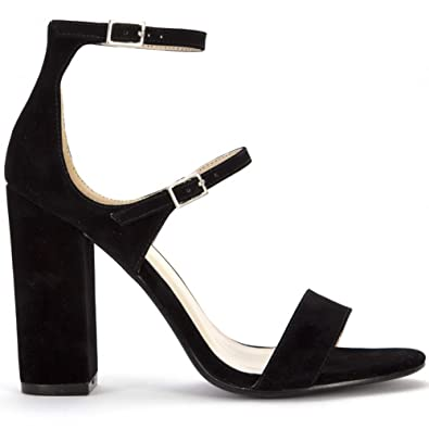 85e320397769 Black Strappy Heels Ladies Black Barely There Ankle Strap High Heels  UK8 EURO41 AUS9
