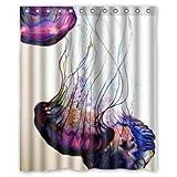 "LOVELIFE Jellyfish Background Waterproof Shower Curtain/Bath Curtain--Size: 60"" x 72"""
