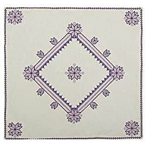 Turathna Cotton Handmade Cross Stitch Table Center Piece - Purple And Lilac