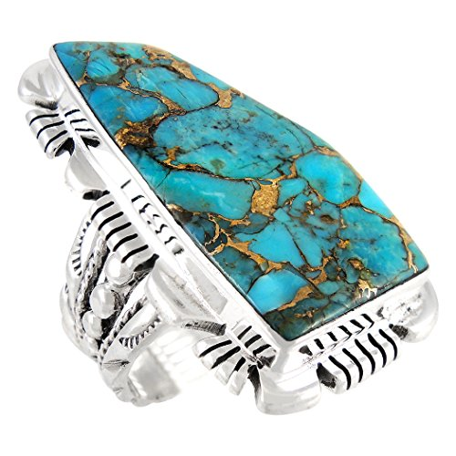 - Turquoise Ring Sterling Silver 925 & Genuine Turquoise Statement Ring (SELECT color) (Teal/Matrix Turquoise, 7)