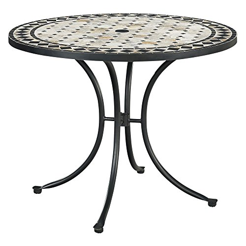 Home Styles 5605-30 Laguna Outdoor Marble Patio Dining Table with Round Top, 39″, Black