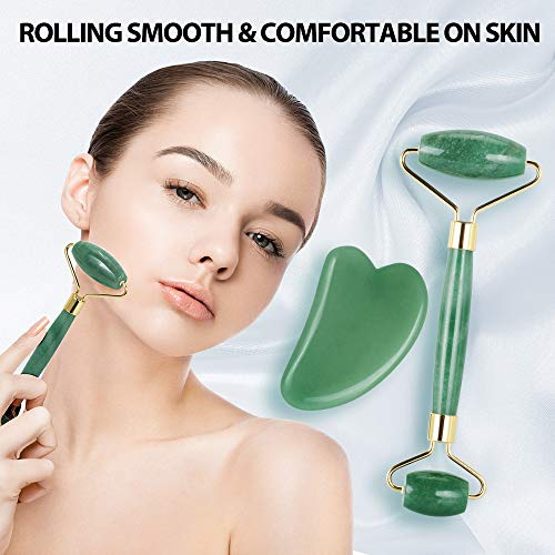 Jade Roller for Face, Terresa Facial Roller Face Massager with Gua Sha Scraping Tool, Eye Treatment Roller Natural Anti-aging, Skin Tightening, Rejuvenate Face and Neck, Remove Wrinkles & Puffiness