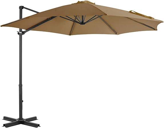 vidaXL Sombrilla de Jardín con Base Portátil Parasol Terraza Artículos de Exterior Casa Hogar Patio Porche Verano Paraguas para Sol Sombra Gris Topo: Amazon.es: Hogar
