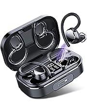 [2021 Enhancement] Coioc Wireless Headphones, Bluetooth Headphones 120Hrs Playtime with 2600mAh Charging Case, Enhances Bass, Comfort Fit, CVC8.0 Wireless Earbuds, IPX7 Waterproof Running Headphones