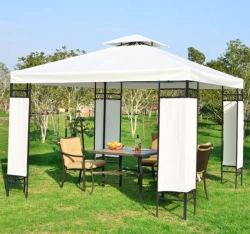 Outsunny Carpa 3x3m Color Crema Estructura Metal Gazebo Cenador 9m2 Posibilidad Techos de Reemplazo: Amazon.es: Jardín