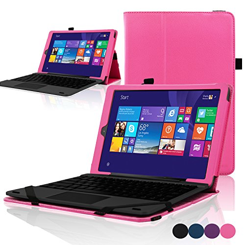 "ACdream RCA Cambio W101 Case, Protective Premium PU Leather Cover Case for RCA 10.1"" 2in1 Tablet 32GB Quad Core Windows 8.1 / 10.1 Tablet Model W101 (2015 Version), Hot Pink"