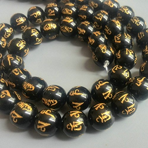 FHNP367 - 10mm Om Mani Padme Hum Natural Black Agate Beads Tibetan Gold Plating Delicately Carved Mantra 15 inch Strand Onyx Beads for Jewelry Making (Onyx Tibetan)