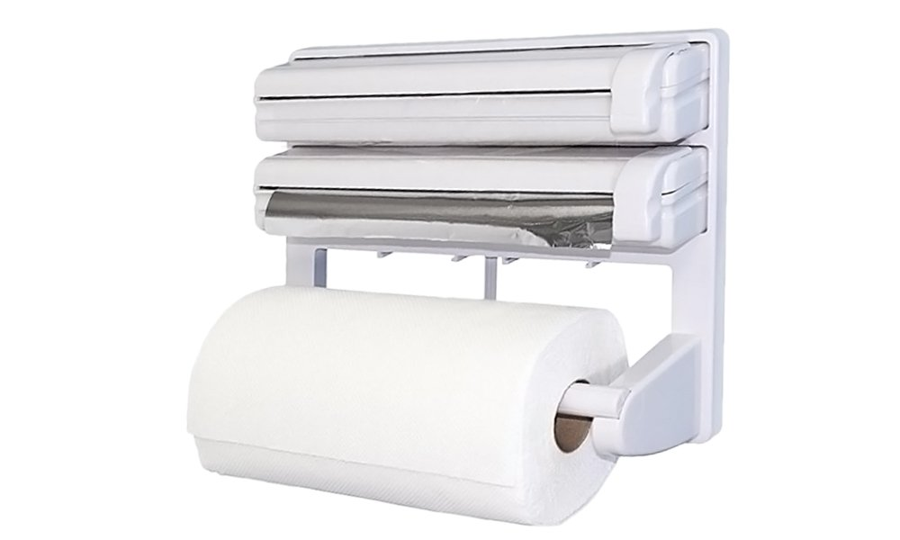 Triple Rollo dispensador de papel toalla de papel film Lámina de lata, soporte de pared: Amazon.es: Hogar