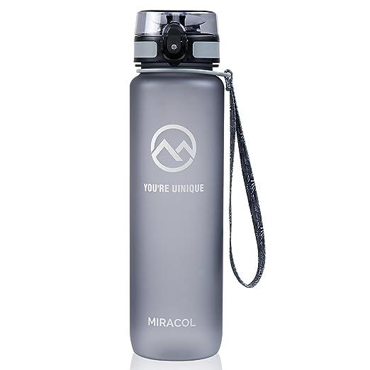 Miracol deportes botella de agua, 32oz - Tritan respetuoso Co-poliester plástico - con tapa Flip y correa ajustable - BPA libre grande - mejor para Gym, ...