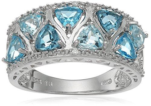 Sterling Silver Multi Trillion Cut Blue Topaz Ring, Size 7 - Topaz Trillion Ring