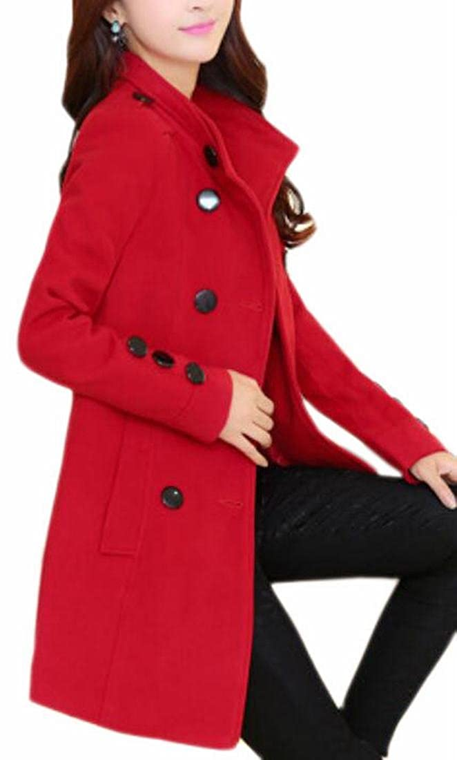 Smeiling Women's Fashion Double-Breasted Solid Belted Wool Pea Coat Overcoats