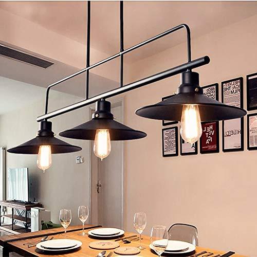 Belief Rebirth Lamparas de Cocina de luz Industrial Acabado Negro, iluminacion de Isla de Cocina de 3 Luces for Comedor, lampara Colgante de Metal Ajustable en Altura Vintage for Mesa de Billar