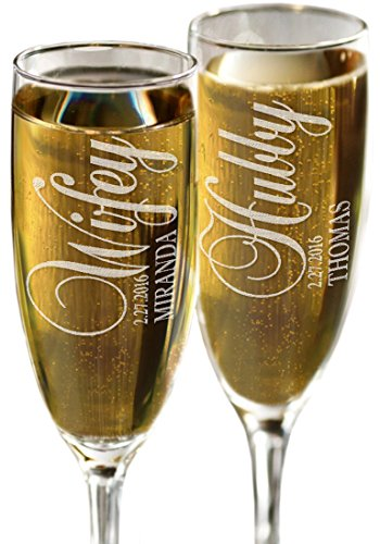 Color Flutes Custom (Hubby and Wifey Set of 2 Champagne Flutes Personalized Engraved Champagne Toasting Glasses Wedding Bride Groom Gift)