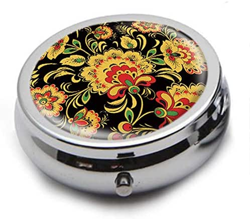 Round Stainless Steel Pill Box Case -Yellow Beautiful Flower Pattern- Pocket 2 inches Medicine Tablet Holder Organizer Case for Purse - Compact 3 Compartment
