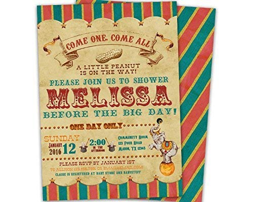 Vintage Circus Baby Shower Invitations Boy Girl Little Peanut Invites ()