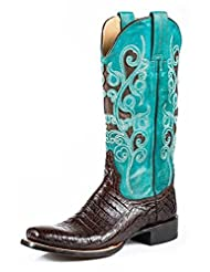 Stetson Western Boots Womens Alia Caiman Brown 12-021-8607-4002 BR