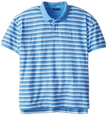 Nautica Men's Big-Tall Short Sleeve Yarn Dyed Mini Stripe Polo, Light French Blue, 1X-Large