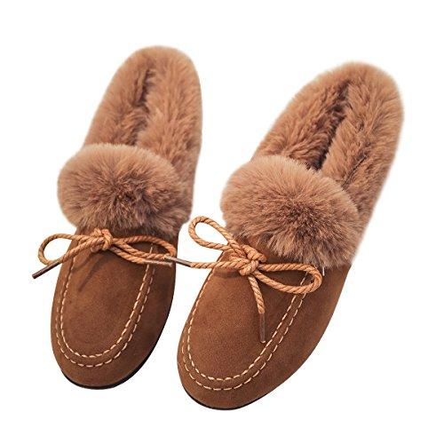 Bow Loafers Slduv7 Faux Soft Moccasin Womens Brown Collar Fur Slipper Outdoor a0xzZaq1