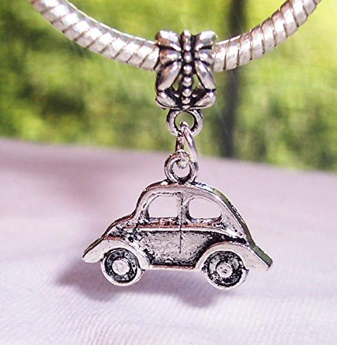 Car Volkswagen Bug Automobile Dangle Charm for Silver European Bead Bracelets Crafting Key Chain Bracelet Necklace Jewelry Accessories Pendants ()
