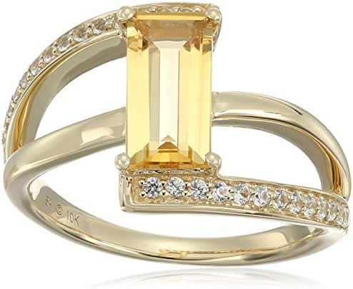 10k Yellow Gold Straight Baguette Citrine and Created White Sapphire Ring, Size 7