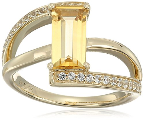 10k Yellow Gold Straight Baguette Citrine and Created White Sapphire Ring, Size 7 - Citrine Baguette