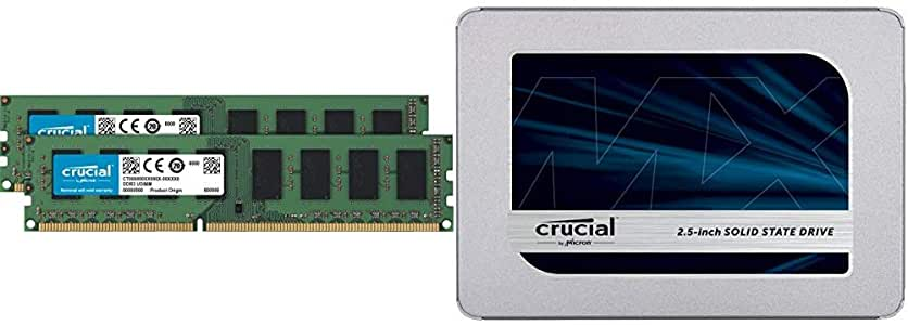 Crucial 16GB Kit (8GBx2) DDR3L 1600 MT/s (PC3L-12800) Unbuffered UDIMM Memory CT2K102464BD160B Bundle MX500 1TB 3D NAND SATA 2.5 Inch Internal SSD - CT1000MX500SSD1(Z)