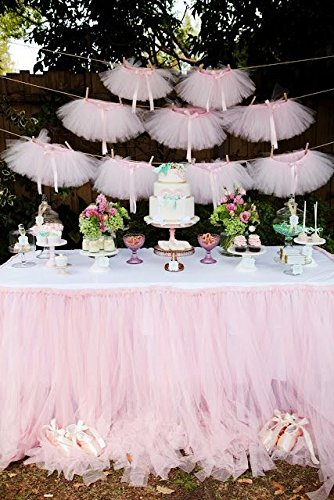 Originals Group Tutu Table Skirt,Baby Pink Tulle Tutu Table Skirt Decor, Birthday Event Wedding Party Decoration (Mini Pink Tutu Garland) by Originals Group (Image #2)