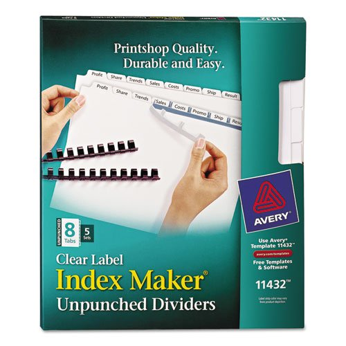 Avery - Index Maker Clear Label Unpunched Divider, 8-Tab, Letter, White, 5 Sets 11432 (DMi PK by Avery