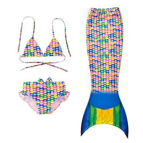 Cute Mermaid Tail Swimmable Bikini Set Halloween Costume for Little Girls (Cute Halloween Costumes For Two Kids)