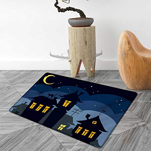 Halloween Door Mat Indoors Old Town with Cat on The Roof Night Sky Moon and Stars Houses Cartoon Art Customize Bath Mat with Non Slip Backing 4'x6' Black Yellow Blue