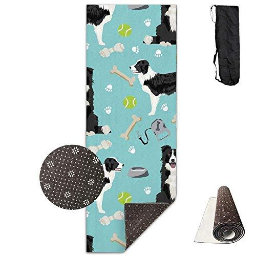 AAA.Yongfugui Border Collie Tennis Balls,Yoga Towel Exercise Mat Non-Slip High Density Waterproof Yoga Mats Fitness