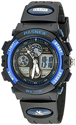 30m Water-proof Digital-analog Boys Girls Sport Digital Watch with Alarm Stopwatch Chronograph (Child) 6 Colors (Blue-black)