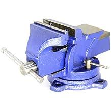 "H 15-FS (TM) Brand 5"" eavyduty Bench Vise Anvil Forged.360 Swivel Locking Base Desktop Clamp (16LBS) , FS Blue Design"