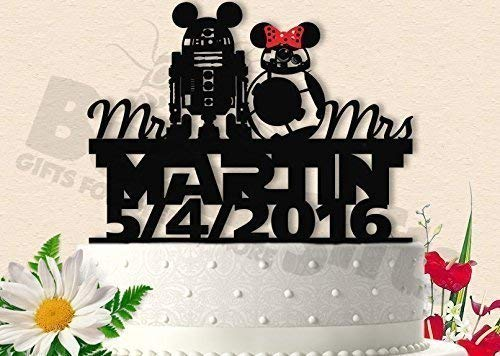 R2D2 and BB8 (R2B8) With Names and Date Wedding Cake for sale  Delivered anywhere in USA