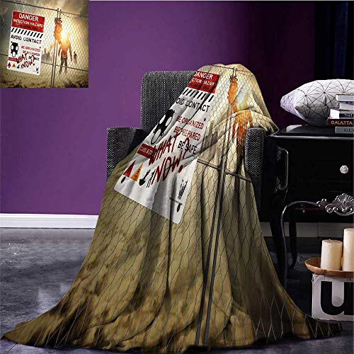 Sunset glow Zombie Decor Cozy Flannel Blanket Dead Man Walking Dark Danger Scary Scene Fiction Halloween Infection Picture Degrees of Comfort Weighted Blanket Multicolor Bed or Couch 62