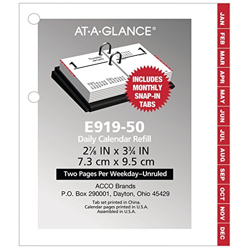 "AT-A-GLANCE 2019 Daily Desk Calendar Refill, 3"" x 3-3/4"", Pocket Size 2, Loose Leaf (E91950)"