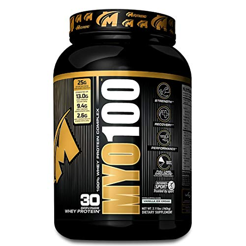 MYO100 A Transparent Blend of Whey Protein Powder, Whey Protein Isolate 50 , Whey Protein Concentrate 40 , Whey Protein Isolate Hydrolysate 10 – 2 Lbs. 30 Servings Delicious Vanilla Ice Cream