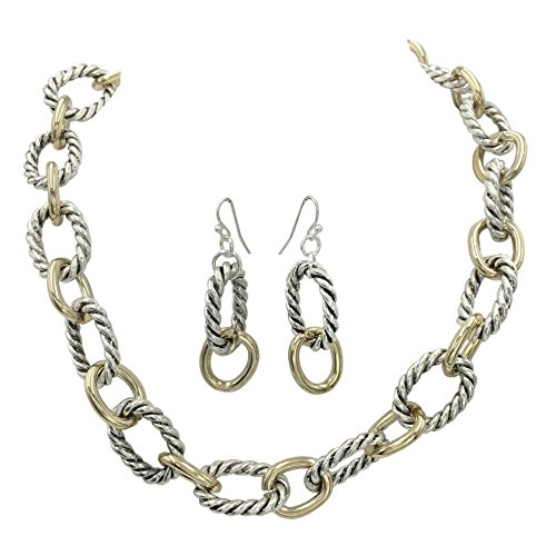 Designer Inspired Necklace Set (Simple Chunky Rope Twist Chain Statement Boutique Necklace & Earrings Set (Silver Tone & Gold Tone))
