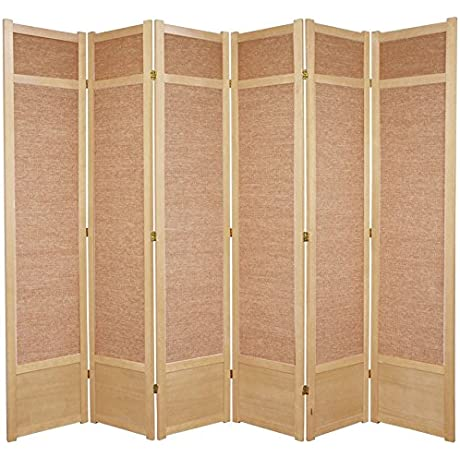 Oriental Furniture 7 Ft Tall Jute Shoji Screen 6 Panel Natural