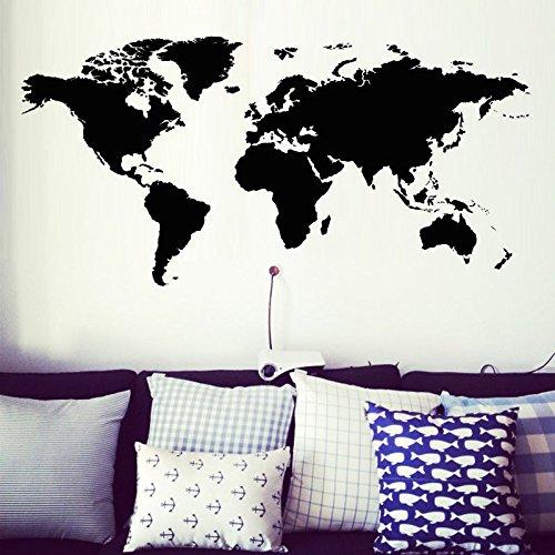 Decoración para el Hogar Mapa del Mundo Atlas etiqueta de la pared Negro Impreso dormitorio decorativo adhesivo removible...