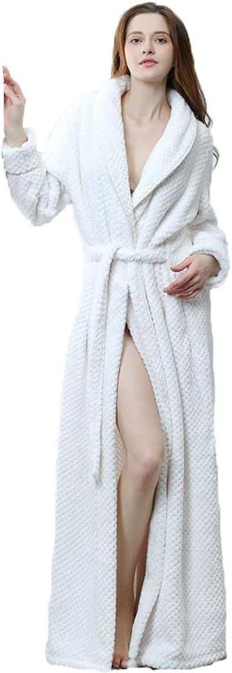 BERTHACC Vestido Largo para Mujer de Albornoz Ropa de Baño con Capucha - 100% Algodón Bata Baño Mujer 2 Bolsillos, Cinturón y Cierre - Suave, Absorbente y Cómodo,Blanco,L: Amazon.es: Deportes y aire