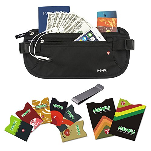 Homfu RFID Money Belt for woman man with 6 x Cr...