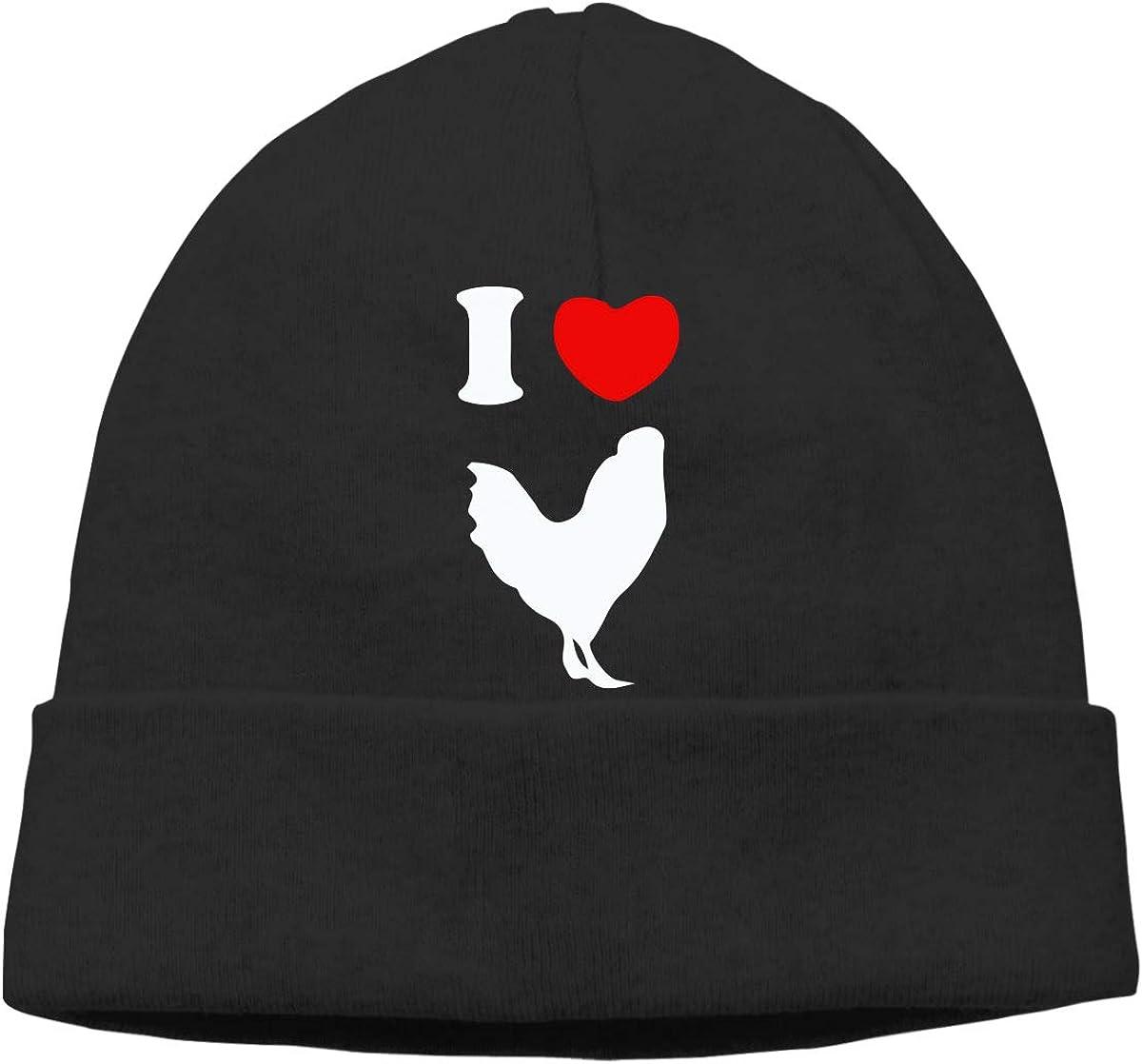 I Heart Love Rooster Chicken Men and Women Sweat Wicking Surf Beanie Cap