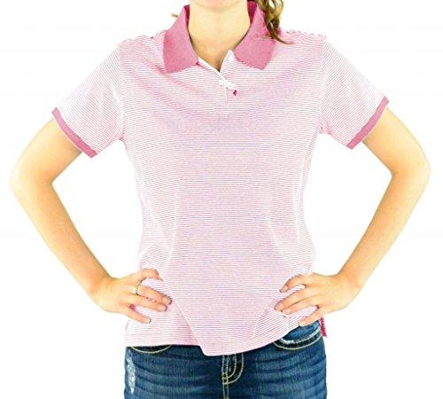 Devon & Jones Women's Short Sleeve Polo Shirt - WILD GERANIUM STRIPE D350W M