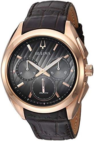 Bulova Men s 45mm CURV Collection Rose Goldtone Leather Strap Watch