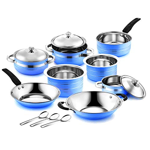 WIBSIL Induction Bottom 14 pcs Gift Pack Induction Bottom Cookware Set (Blue)