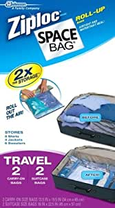 Space Compressible Bag BRS-9212ZG Vacuum-Seal Travel Roll Bags, Set of 4