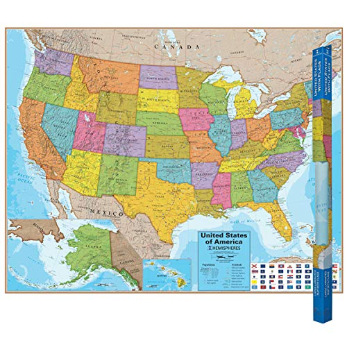 Round World Products RWPHM02 Hemispheres Blue Ocean Series USA Laminated Map, Laminated Paper, Multi