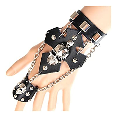 Top Xusamss Hip Hop Alloy Rivet Skull Chain Leather Bracelet Glove Ring,7.5inches for cheap